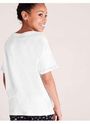 Marks & Spencer Organik Pamuklu Slogan T-Shirt Beyaz